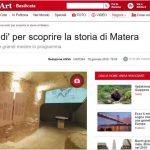 Articolo ANSA: 'Ars Excavandi' per scoprire la storia di Matera